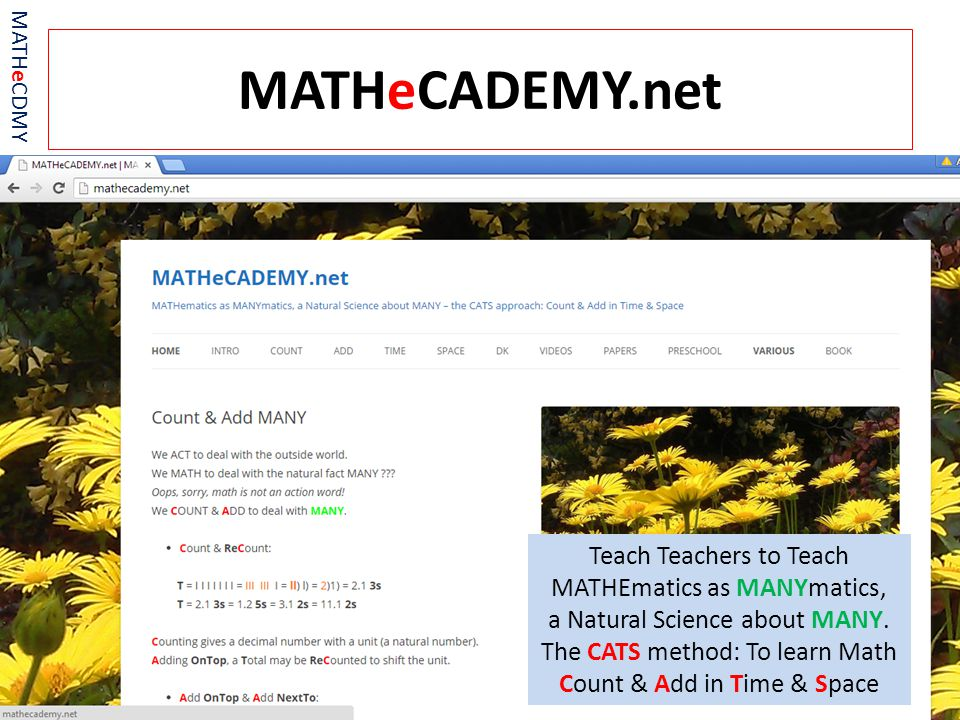 MATHeCADEMY.net Teach Teachers to Teach MATHEmatics as MANYmatics, a Natural Science about MANY.