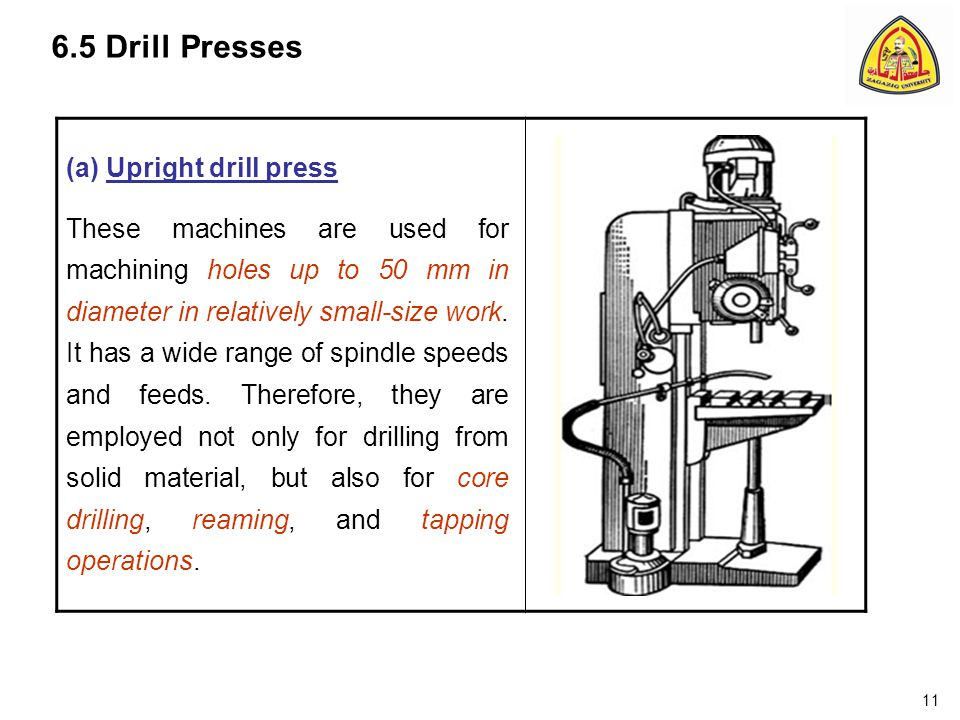 6.5 Drill Presses (a) Upright drill press These machines are used for machining holes up to 50 mm in diameter in relatively small-size work.