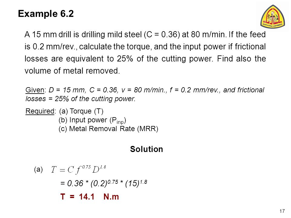 Example 6.2 A 15 mm drill is drilling mild steel (C = 0.36) at 80 m/min.