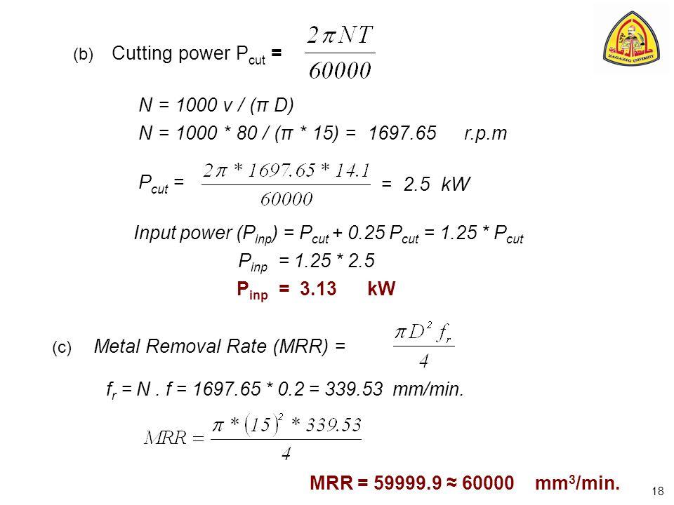 (b) Cutting power P cut = N = 1000 v / (π D) N = 1000 * 80 / (π * 15) = 1697.65 r.p.m P cut = = 2.5 kW Input power (P inp ) = P cut + 0.25 P cut = 1.2