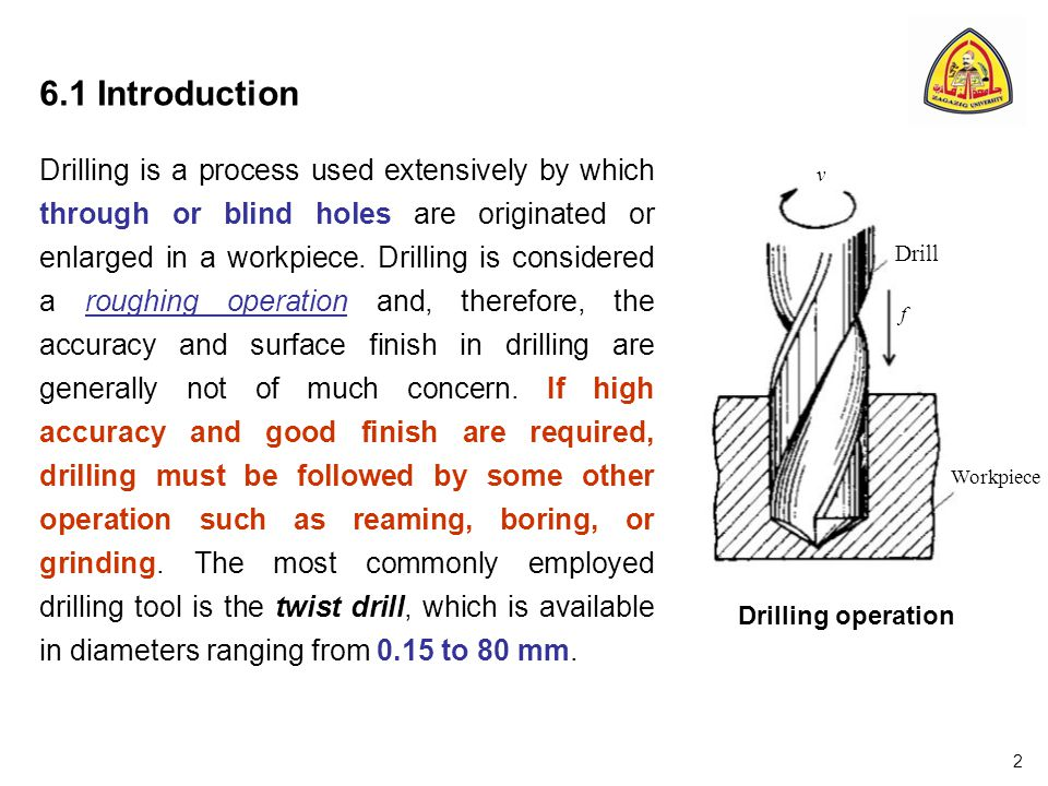 6.1 Introduction Drilling is a process used extensively by which through or blind holes are originated or enlarged in a workpiece.