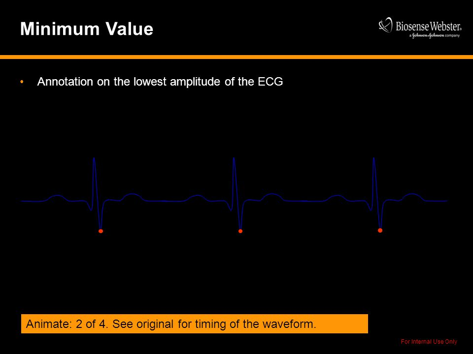 For Internal Use Only Minimum Value Annotation on the lowest amplitude of the ECG Animate: 2 of 4. See original for timing of the waveform.