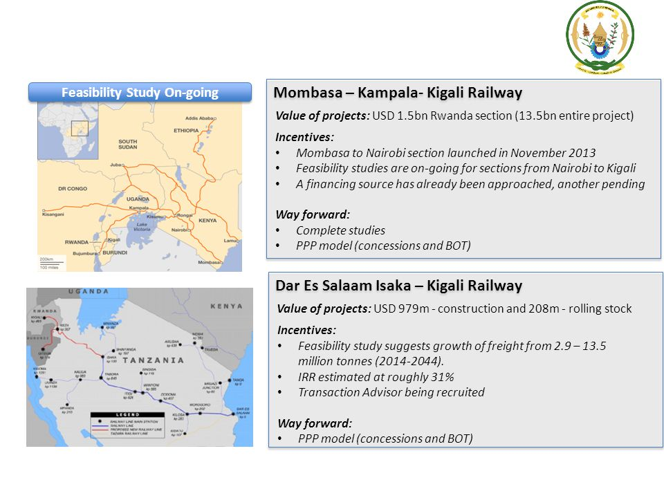 Mombasa – Kampala- Kigali Railway Value of projects: USD 1.5bn Rwanda section (13.5bn entire project) Incentives: Mombasa to Nairobi section launched