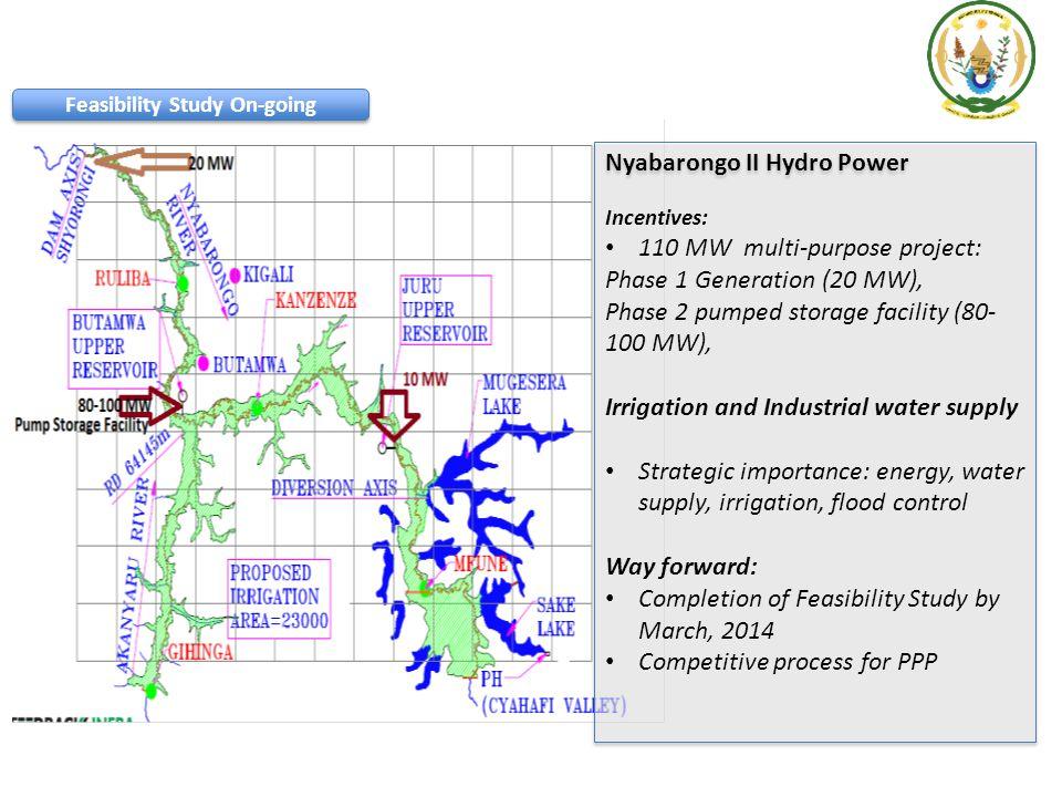 Nyabarongo II Hydro Power Incentives: 110 MW multi-purpose project: Phase 1 Generation (20 MW), Phase 2 pumped storage facility (80- 100 MW), Irrigati