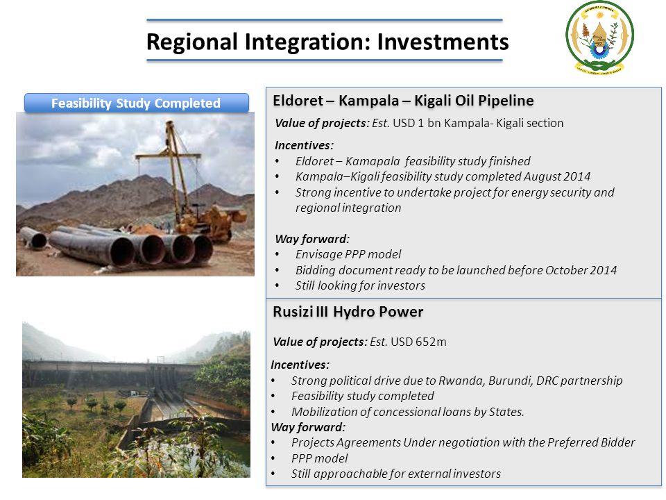 Eldoret – Kampala – Kigali Oil Pipeline Incentives: Eldoret – Kamapala feasibility study finished Kampala–Kigali feasibility study completed August 20