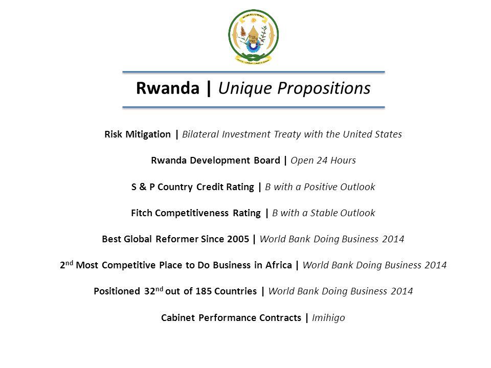 Rwanda | Unique Propositions Risk Mitigation | Bilateral Investment Treaty with the United States Rwanda Development Board | Open 24 Hours S & P Count