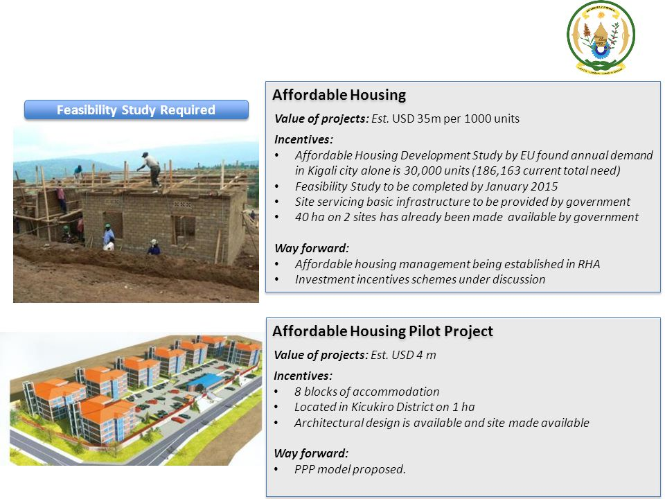 Affordable Housing Value of projects: Est. USD 35m per 1000 units Incentives: Affordable Housing Development Study by EU found annual demand in Kigali