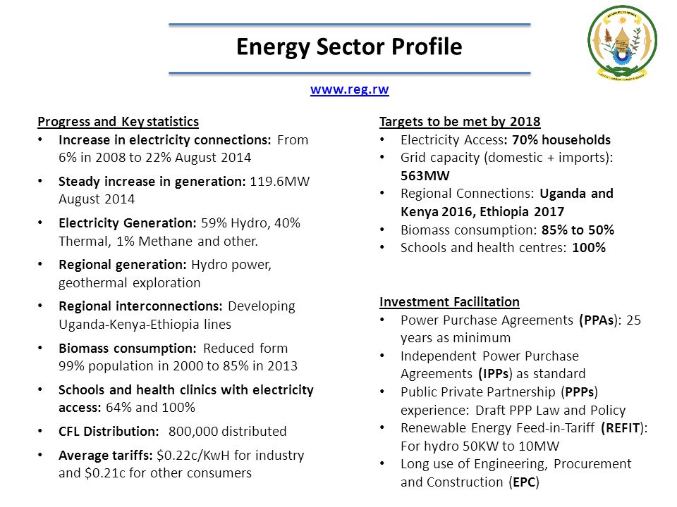 Energy Sector Profile www.reg.rw Targets to be met by 2018 Electricity Access: 70% households Grid capacity (domestic + imports): 563MW Regional Conne