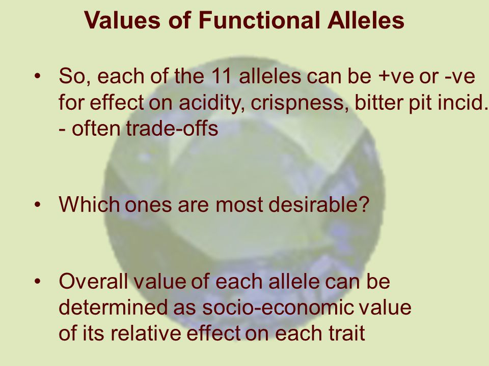 Values of Functional Alleles So, each of the 11 alleles can be +ve or -ve for effect on acidity, crispness, bitter pit incid.