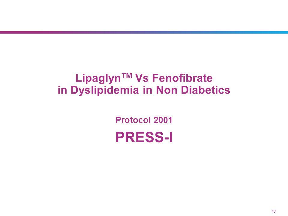 Lipaglyn TM Vs Fenofibrate in Dyslipidemia in Non Diabetics Protocol 2001 PRESS-I 13