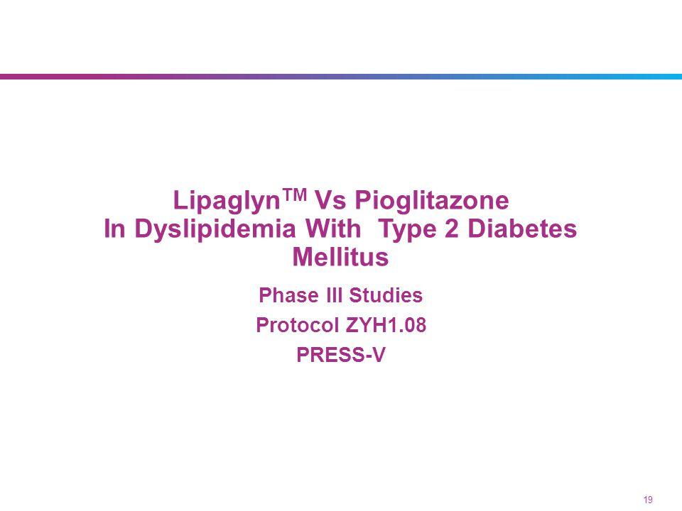Lipaglyn TM Vs Pioglitazone In Dyslipidemia With Type 2 Diabetes Mellitus Phase III Studies Protocol ZYH1.08 PRESS-V 19