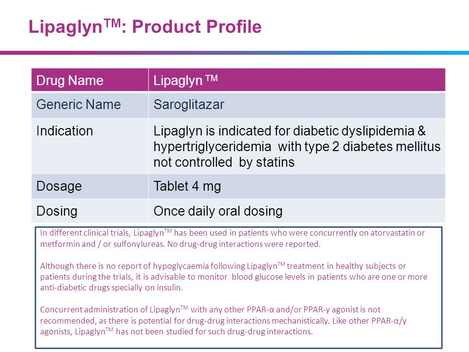 Lipaglyn TM : Product Profile Drug NameLipaglyn TM Generic NameSaroglitazar IndicationLipaglyn is indicated for diabetic dyslipidemia & hypertriglycer
