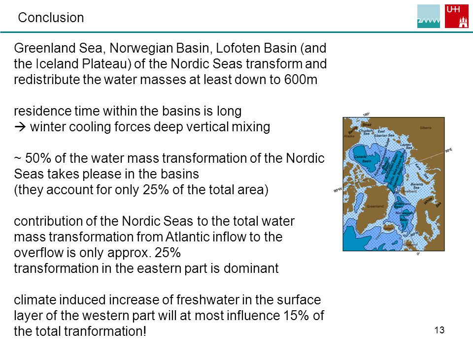 13 Conclusion Greenland Sea, Norwegian Basin, Lofoten Basin (and the Iceland Plateau) of the Nordic Seas transform and redistribute the water masses at least down to 600m residence time within the basins is long  winter cooling forces deep vertical mixing ~ 50% of the water mass transformation of the Nordic Seas takes please in the basins (they account for only 25% of the total area) contribution of the Nordic Seas to the total water mass transformation from Atlantic inflow to the overflow is only approx.