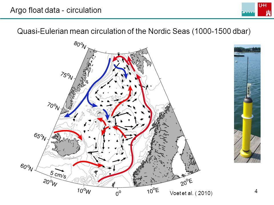 4 Argo float data - circulation Quasi-Eulerian mean circulation of the Nordic Seas (1000-1500 dbar) Voet et al.
