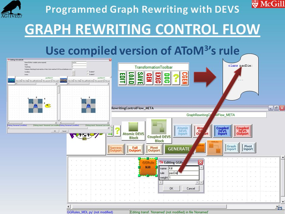 '07 GRAPH REWRITING CONTROL FLOW Use compiled version of AToM 3 's rule class pacDie:... 25