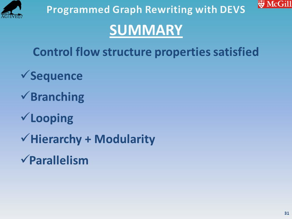 '07 SUMMARY Sequence Branching Looping Hierarchy + Modularity Parallelism Control flow structure properties satisfied 31