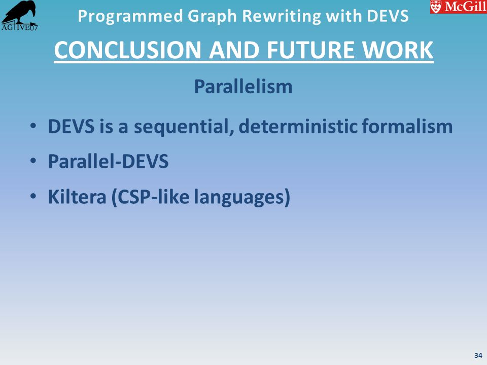 '07 CONCLUSION AND FUTURE WORK DEVS is a sequential, deterministic formalism Parallel-DEVS Kiltera (CSP-like languages) Parallelism 34