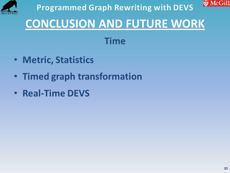 '07 CONCLUSION AND FUTURE WORK Metric, Statistics Timed graph transformation Real-Time DEVS Time 35