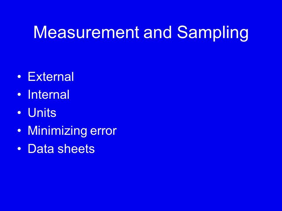 Measurement and Sampling External Internal Units Minimizing error Data sheets