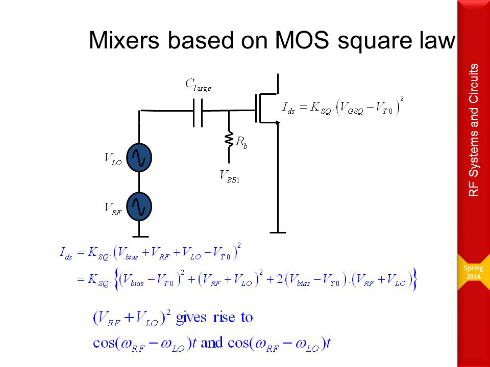 Mixers based on MOS square law Spring 2014 Spring 2014 RF Systems and Circuits