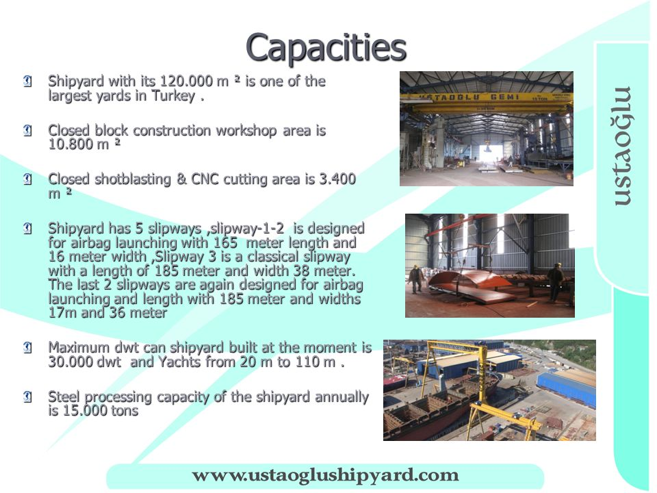 Capacities Capacities Shipyard with its 120.000 m ² is one of the largest yards in Turkey.
