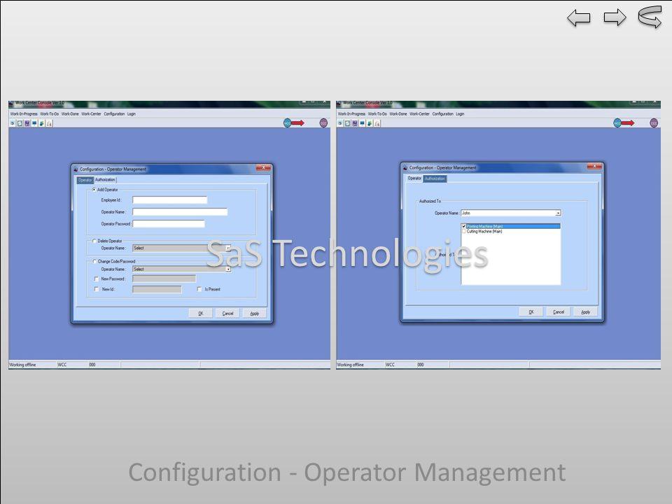 Configuration - Operator Management SaS Technologies