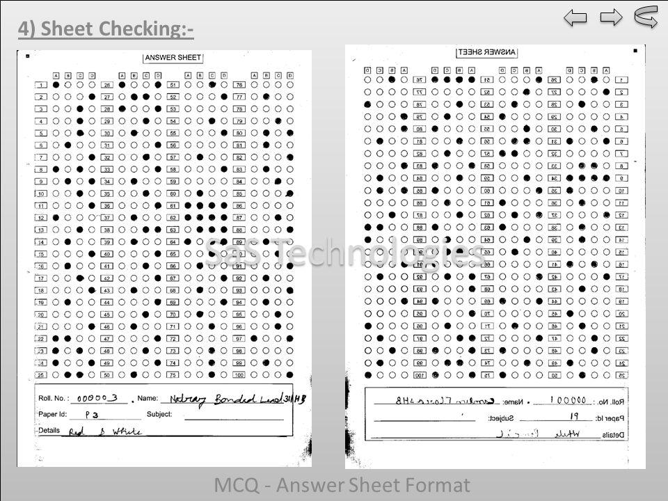 4) Sheet Checking:- MCQ - Answer Sheet Format SaS Technologies