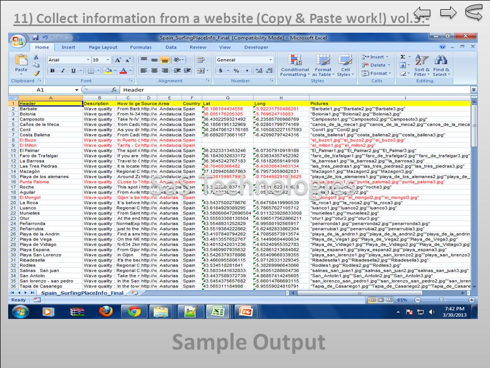 11) Collect information from a website (Copy & Paste work!) vol.3:- Sample Output SaS Technologies
