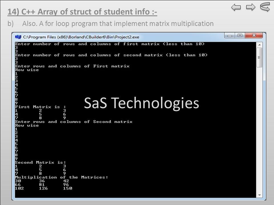 14) C++ Array of struct of student info :- b) Also.