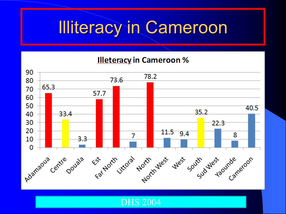 Illiteracy in Cameroon DHS 2004
