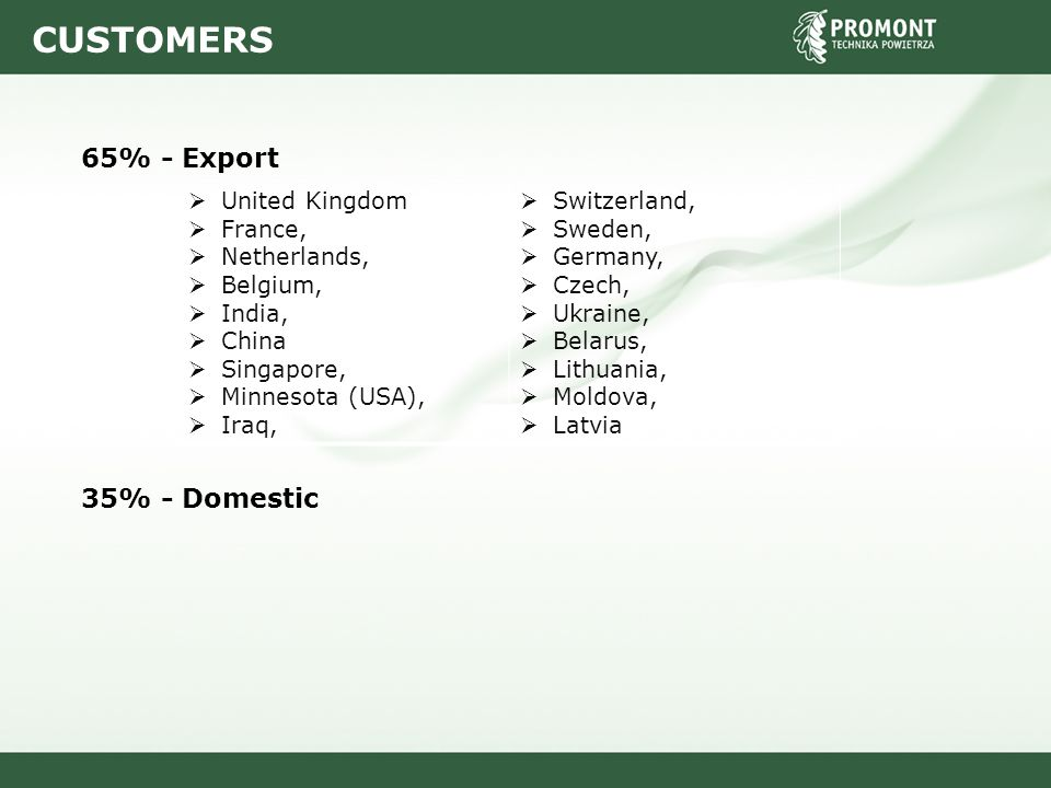 CUSTOMERS 65% - Export 35% - Domestic  United Kingdom  France,  Netherlands,  Belgium,  India,  China  Singapore,  Minnesota (USA),  Iraq, 