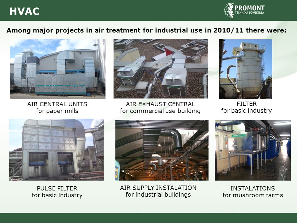 HVAC Among major projects in air treatment for industrial use in 2010/11 there were: AIR CENTRAL UNITS for paper mills AIR EXHAUST CENTRAL for commerc