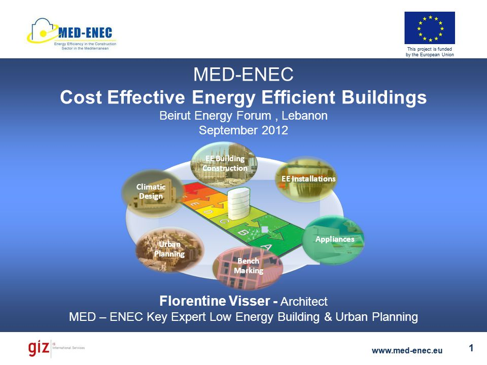 Florentine Visser - Key Expert Low Energy Building & Urban Planning www.med-enec.eu 1 This project is funded by the European Union Florentine Visser - Key Expert Low Energy Building & Urban Planning www.med-enec.eu 1 This project is funded by the European Union MED-ENEC Cost Effective Energy Efficient Buildings Beirut Energy Forum, Lebanon September 2012 Florentine Visser - Architect MED – ENEC Key Expert Low Energy Building & Urban Planning