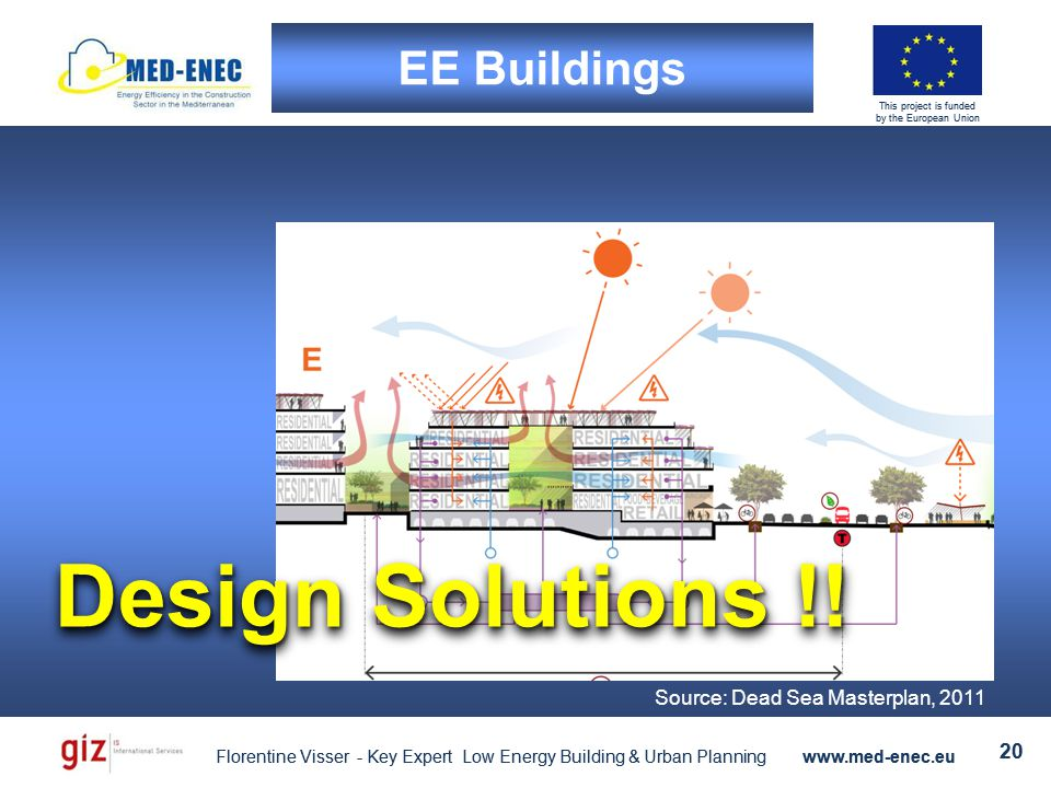 Florentine Visser - Key Expert Low Energy Building & Urban Planning www.med-enec.eu 20 This project is funded by the European Union Florentine Visser - Key Expert Low Energy Building & Urban Planning www.med-enec.eu 20 This project is funded by the European Union EE Buildings Source: Dead Sea Masterplan, 2011 Design Solutions !!