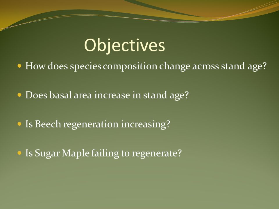 Objectives How does species composition change across stand age? Does basal area increase in stand age? Is Beech regeneration increasing? Is Sugar Map