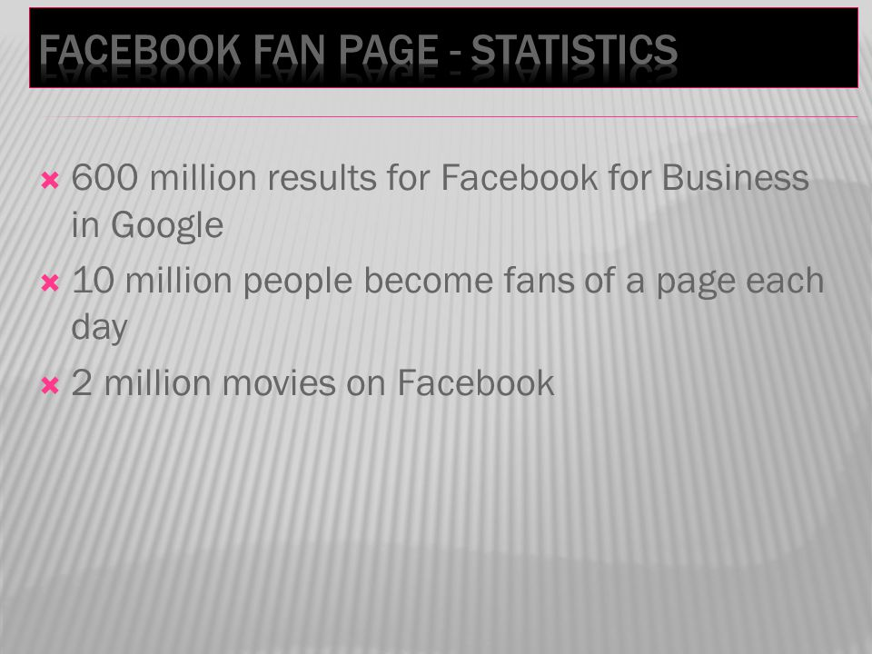  600 million results for Facebook for Business in Google  10 million people become fans of a page each day  2 million movies on Facebook