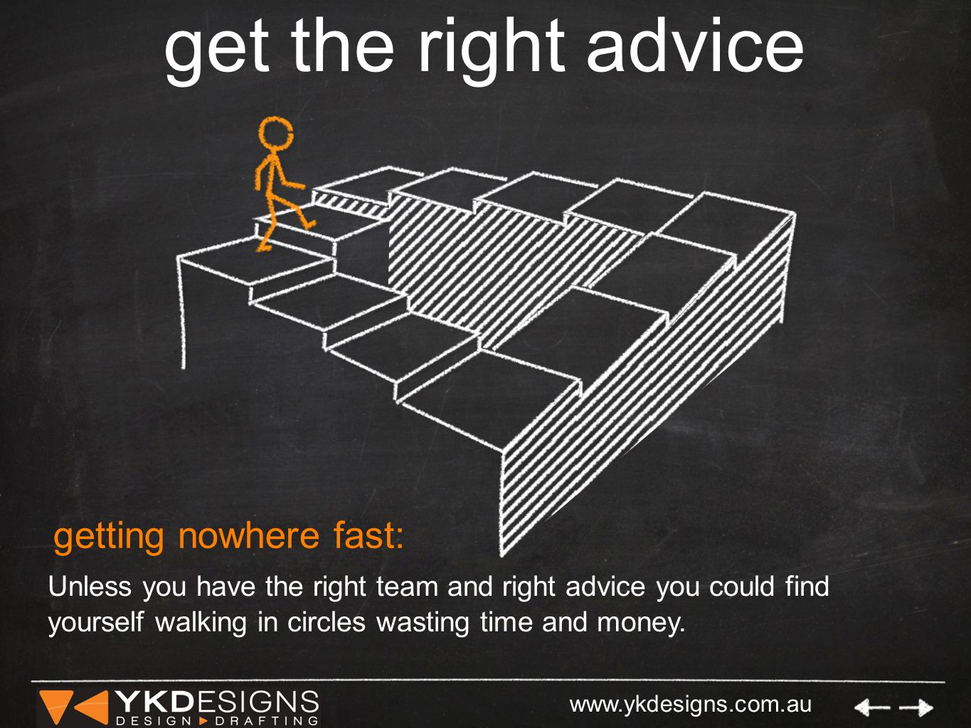 www.ykdesigns.com.au get the right advice getting nowhere fast: Unless you have the right team and right advice you could find yourself walking in circles wasting time and money.