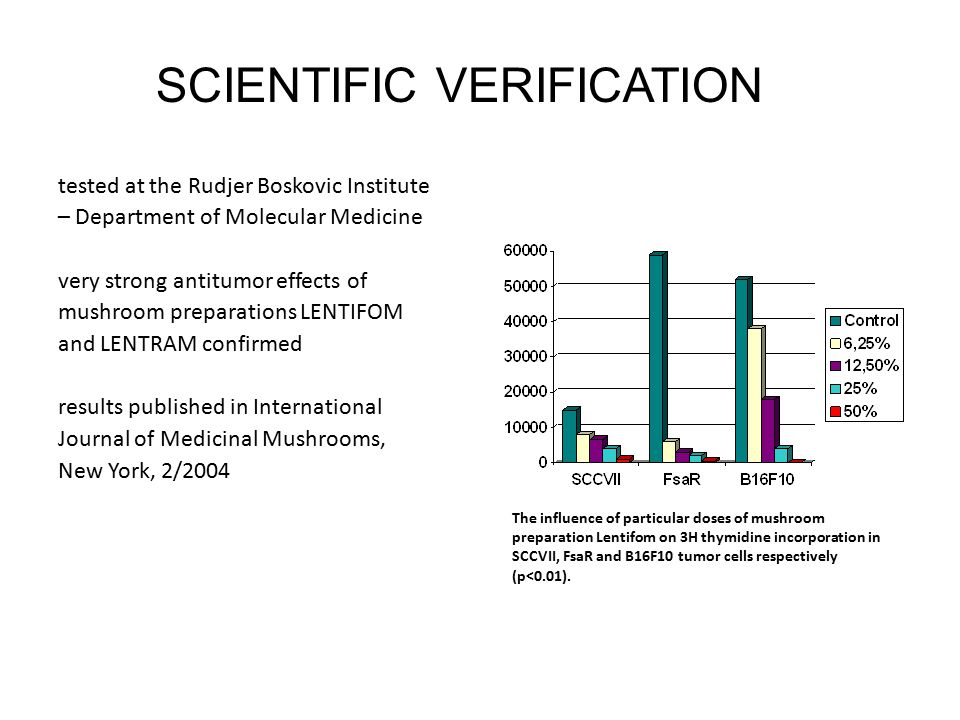 tested at the Rudjer Boskovic Institute – Department of Molecular Medicine very strong antitumor effects of mushroom preparations LENTIFOM and LENTRAM confirmed results published in International Journal of Medicinal Mushrooms, New York, 2/2004 SCIENTIFIC VERIFICATION The influence of particular doses of mushroom preparation Lentifom on 3H thymidine incorporation in SCCVII, FsaR and B16F10 tumor cells respectively (p<0.01).