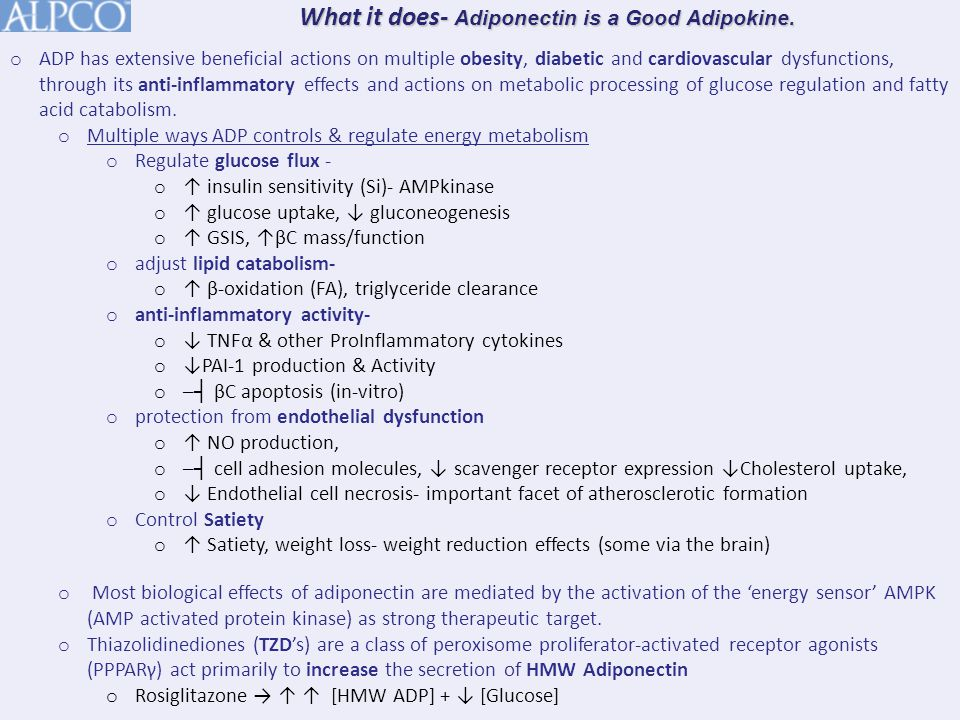 o ADP has extensive beneficial actions on multiple obesity, diabetic and cardiovascular dysfunctions, through its anti-inflammatory effects and actions on metabolic processing of glucose regulation and fatty acid catabolism.