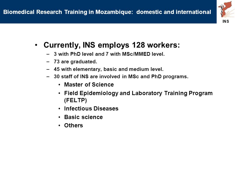 Currently, INS employs 128 workers: –3 with PhD level and 7 with MSc/MMED level.