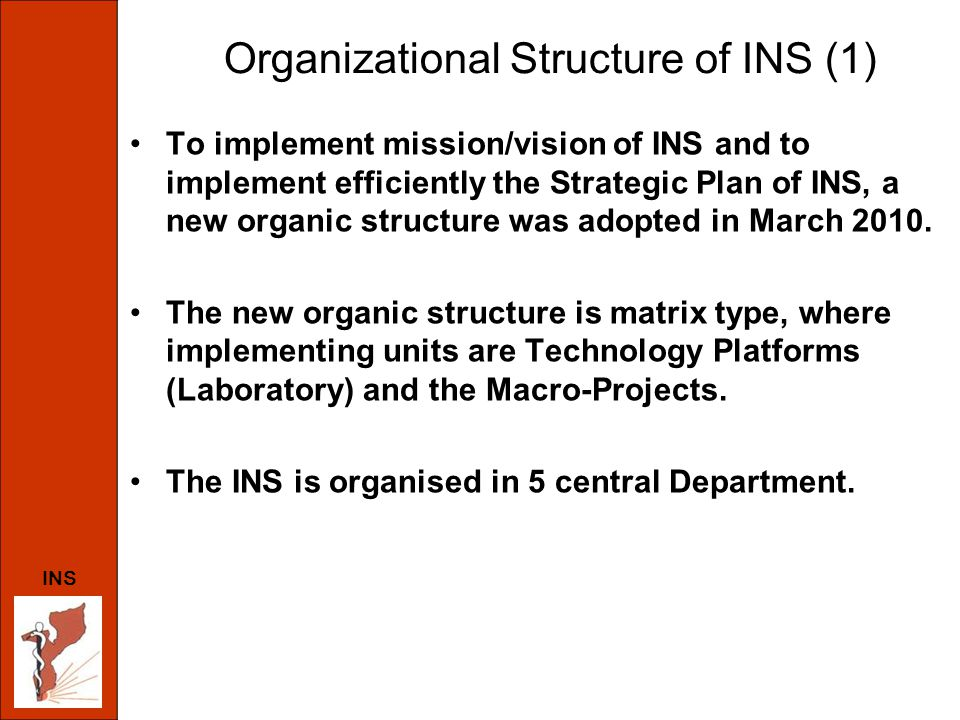 Organizational Structure of INS (1) To implement mission/vision of INS and to implement efficiently the Strategic Plan of INS, a new organic structure was adopted in March 2010.