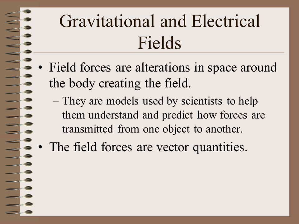 Gravitational and Electrical Fields Field forces are alterations in space around the body creating the field. –They are models used by scientists to h