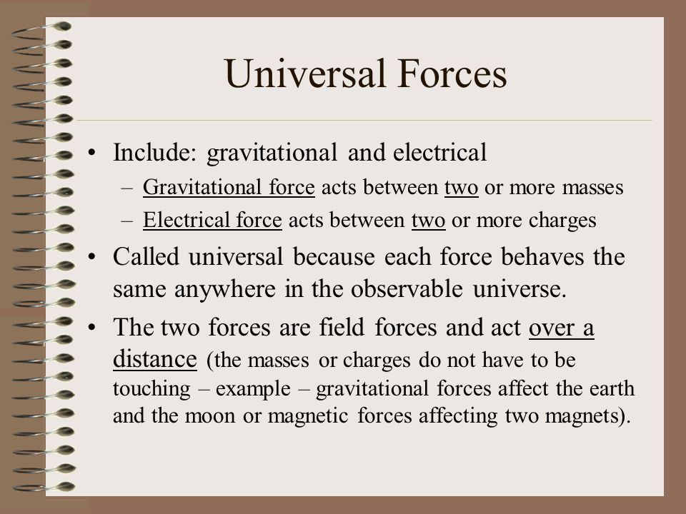 Universal Forces Include: gravitational and electrical –Gravitational force acts between two or more masses –Electrical force acts between two or more