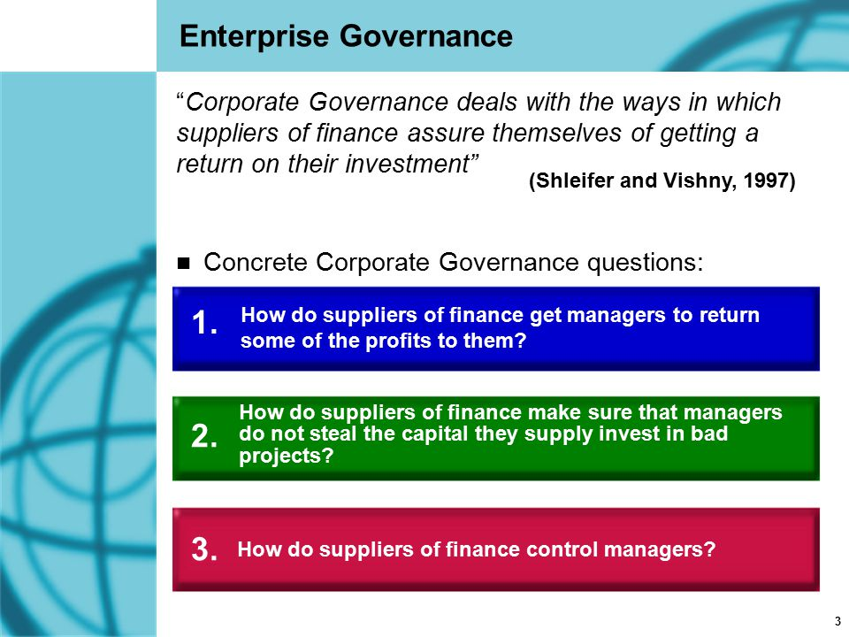 """3 Enterprise Governance """"Corporate Governance deals with the ways in which suppliers of finance assure themselves of getting a return on their investm"""