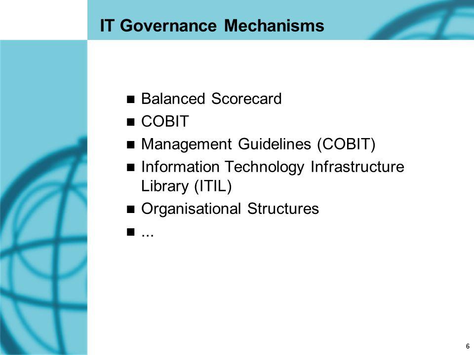 6 IT Governance Mechanisms Balanced Scorecard COBIT Management Guidelines (COBIT) Information Technology Infrastructure Library (ITIL) Organisational