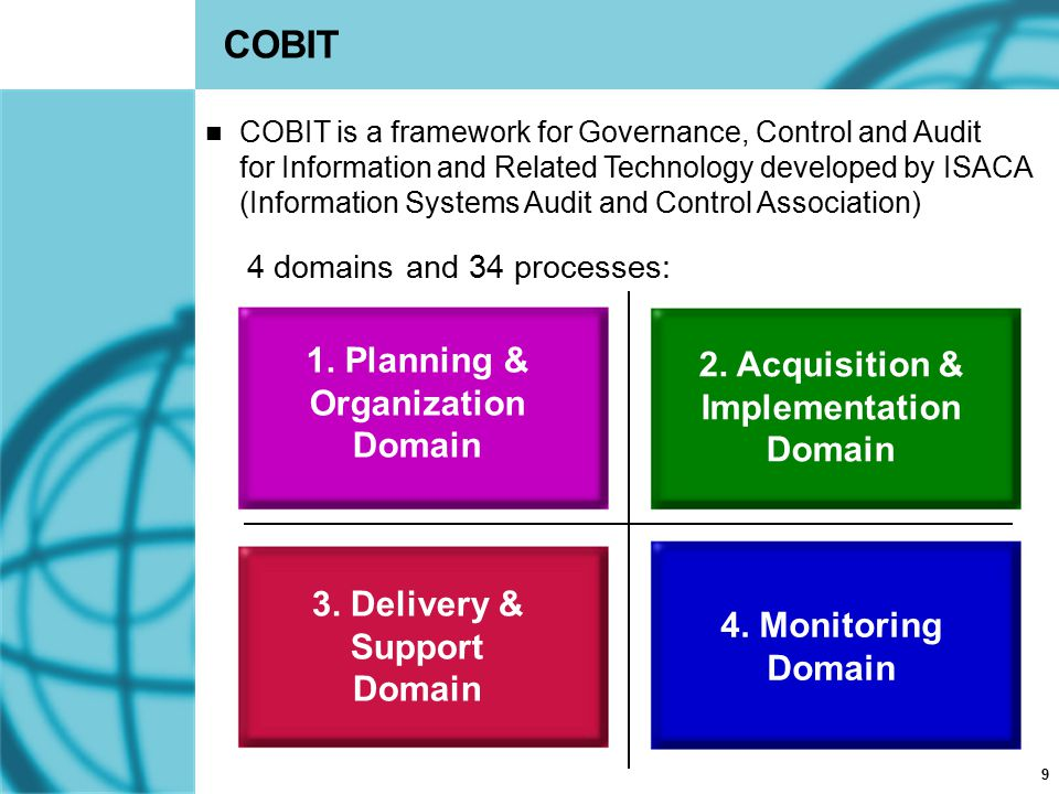 9 COBIT 1. Planning & Organization Domain 2. Acquisition & Implementation Domain 3. Delivery & Support Domain 4. Monitoring Domain 4 domains and 34 pr