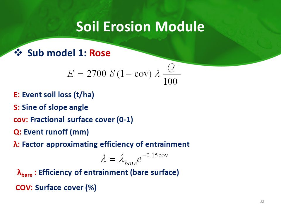 Soil Erosion Module  Sub model 1: Rose E: Event soil loss (t/ha) S: Sine of slope angle cov: Fractional surface cover (0-1) Q: Event runoff (mm) λ: F