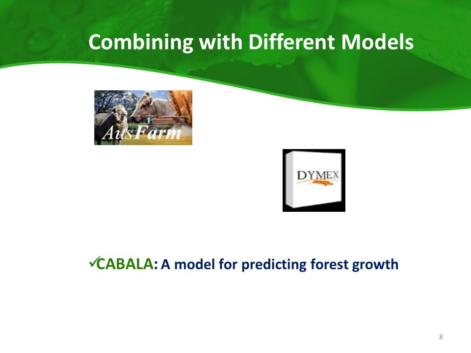 Combining with Different Models CABALA: A model for predicting forest growth 8