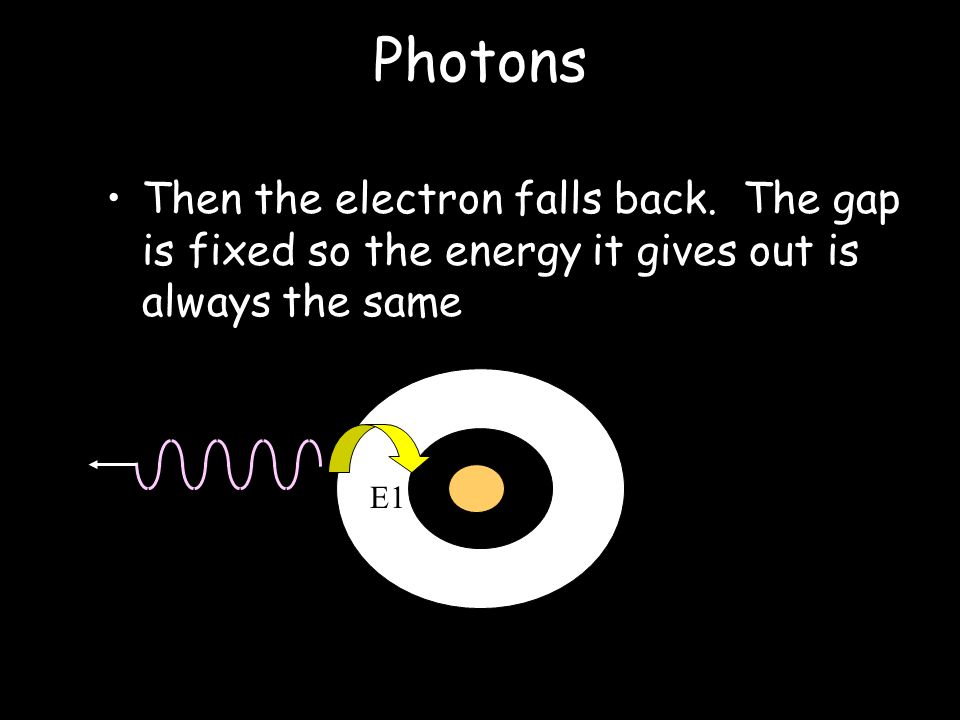 Photons If the electron in E1 is excited it can only jump to E2. E1E2