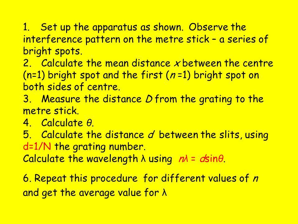n = 2 n = 1 n = 2 n = 1 n = 0 x D Laser Metre stick Diffraction grating θ Tan θ = x/D MEASUREMENT OF THE WAVELENGTH OF MONOCHROMATIC LIGHT